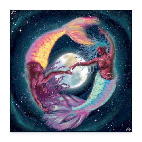 Pisces Moon Mermaids - Poster 24x24