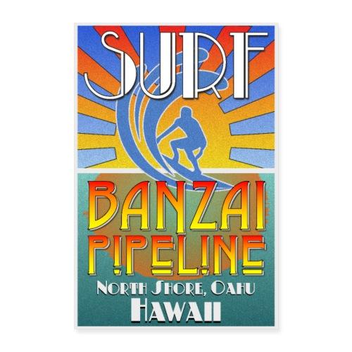 Banzai Pipeline, North Shore, Oahu, Art Deco Style - Poster 8x12