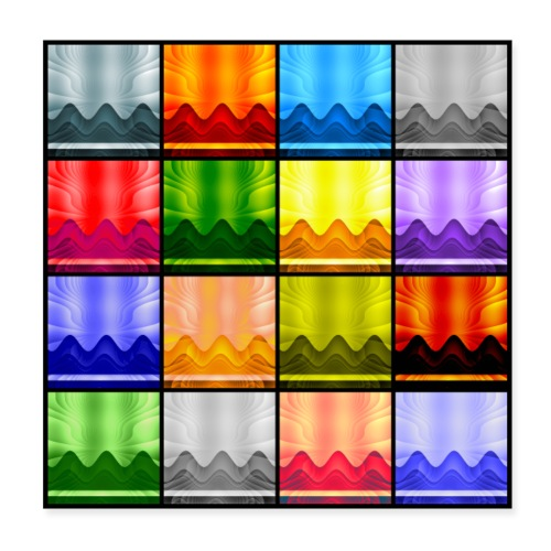 Multi-Color Panel 16 Waves/Mountains/Sky - Poster 8x8