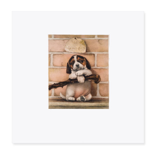 Antique Puppy Dog Print - Poster 8x8