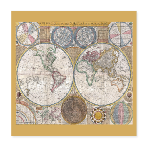Antique World Map Globe Print - Poster 8x8