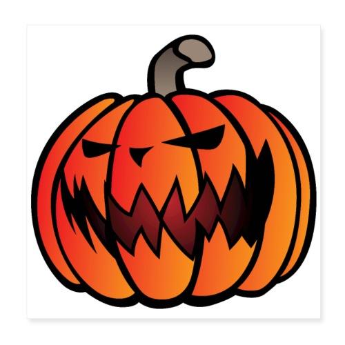 Halloween Scary Pumpkin Cartoon Illustration - Poster 8x8