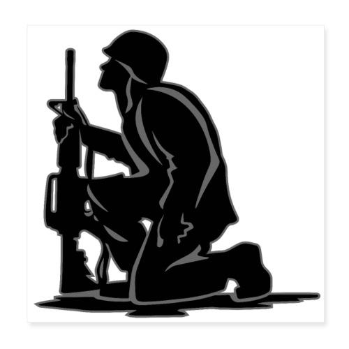 Military Serviceman Kneeling Warrior Tribute Illus - Poster 8x8