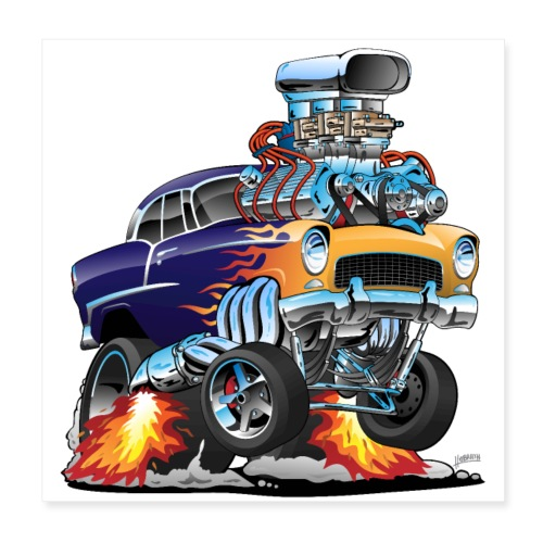 Classic Fifties Hot Rod Muscle Car Cartoon - Poster 8x8