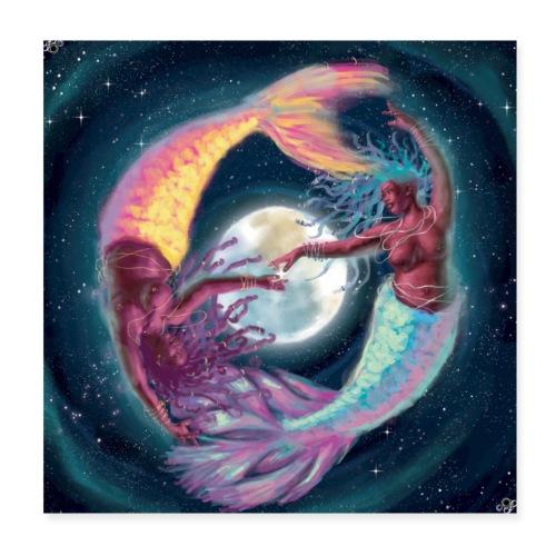 Pisces Moon Mermaids - Poster 8x8