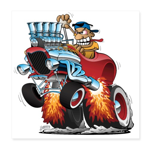 Highboy Hot Rod Race Car Cartoon - Poster 8x8
