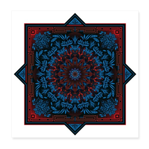 Red Blue Psychedelic Mandala Geometric Design - Poster 8x8