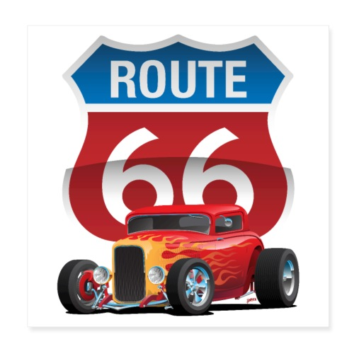 Route 66 Sign with Classic American Red Hotrod - Poster 8x8