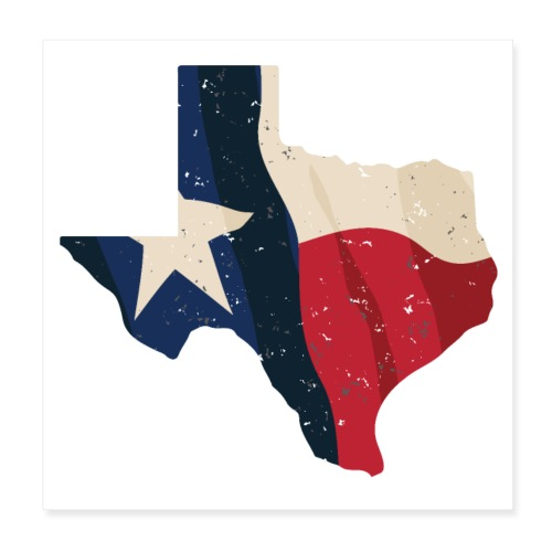 Texas with Flag Overlay - Poster 8x8