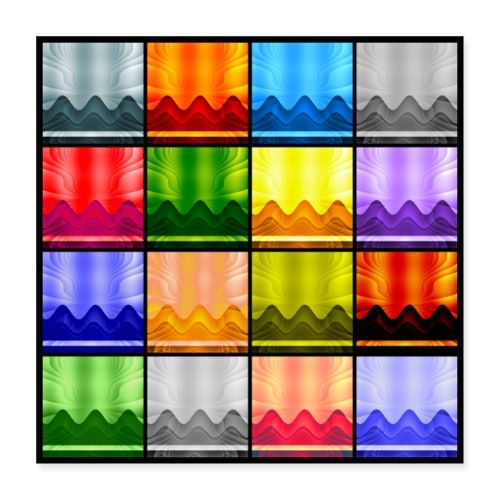 Multi-Color Panel 16 Waves/Mountains/Sky - Poster 16x16