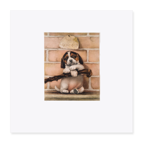 Antique Puppy Dog Print - Poster 16x16