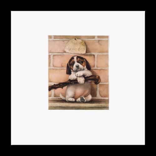 Antique Puppy Dog Print - Poster 16x16