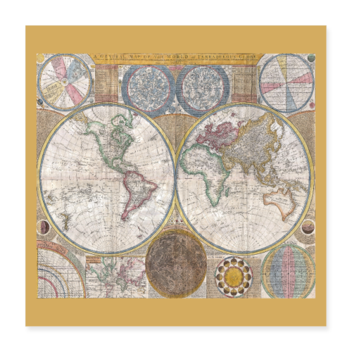 Antique World Map Globe Print - Poster 16x16