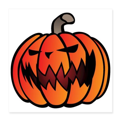 Halloween Scary Pumpkin Cartoon Illustration - Poster 16x16