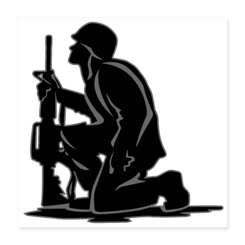 Military Serviceman Kneeling Warrior Tribute Illus - Poster 16x16