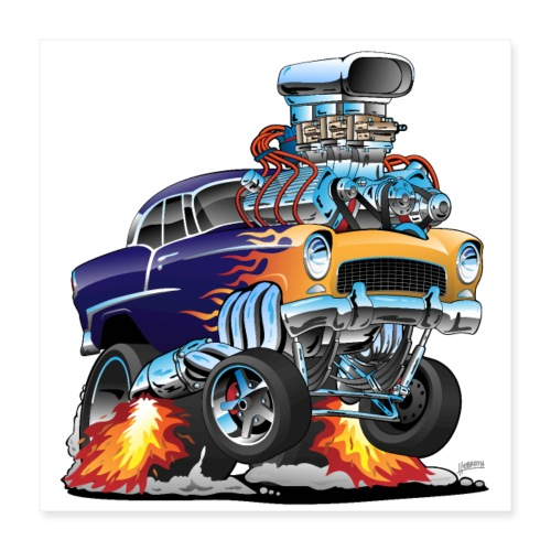 Classic Fifties Hot Rod Muscle Car Cartoon - Poster 16x16