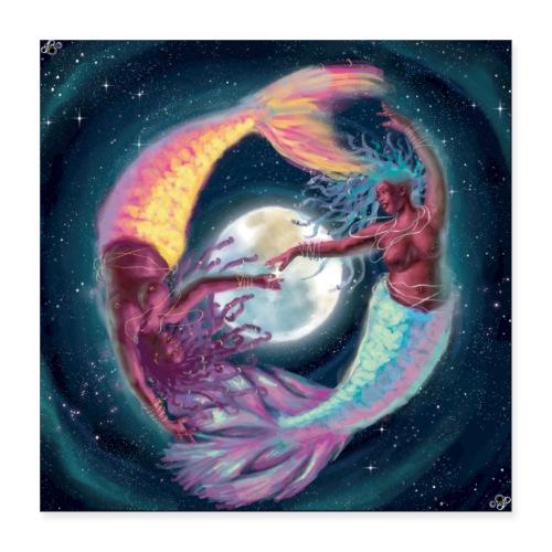 Pisces Moon Mermaids - Poster 16x16