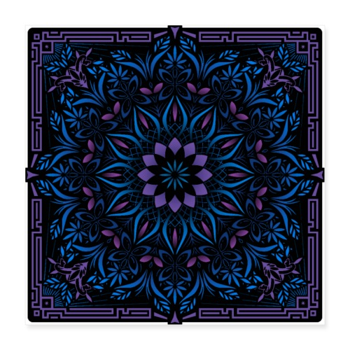 Psychedelic Mandala Geometric Color Illustration - Poster 16x16