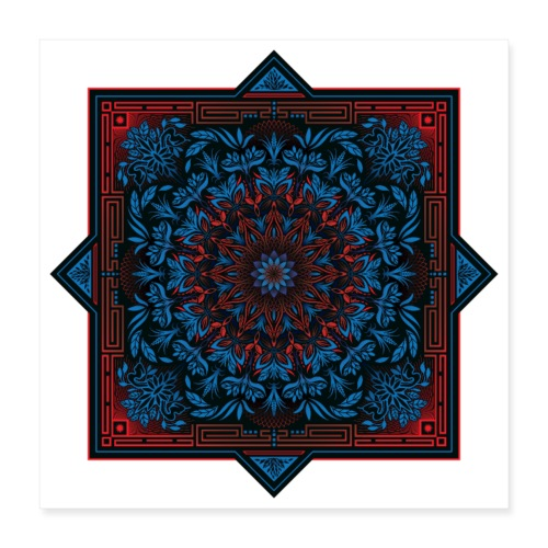 Red Blue Psychedelic Mandala Geometric Design - Poster 16x16