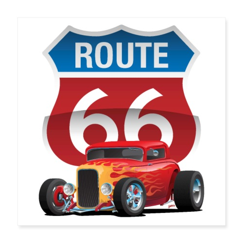 Route 66 Sign with Classic American Red Hotrod - Poster 16x16