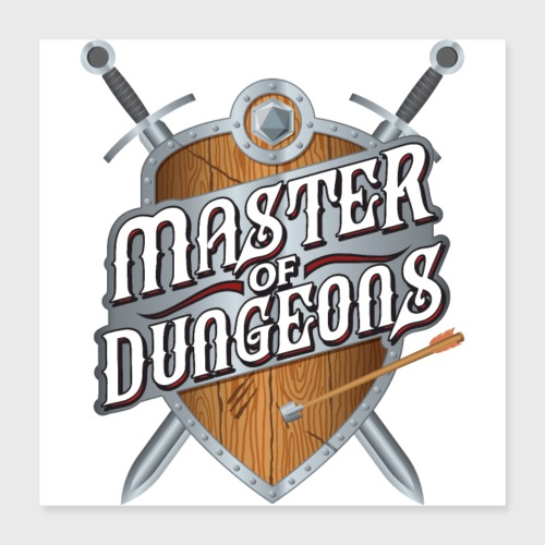 master of dungeons shield and swords fantasy gift - Poster 16x16