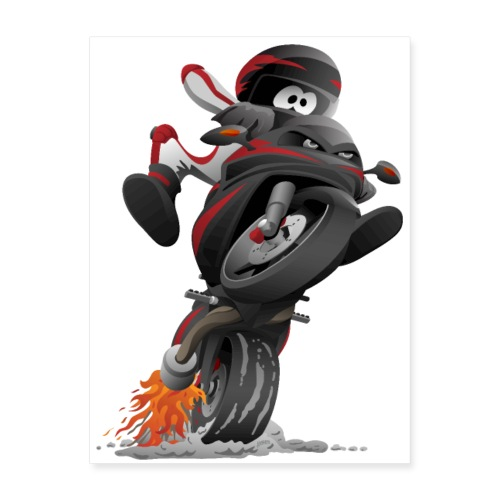Sportbike motorcycle cartoon illustration - Poster 18x24