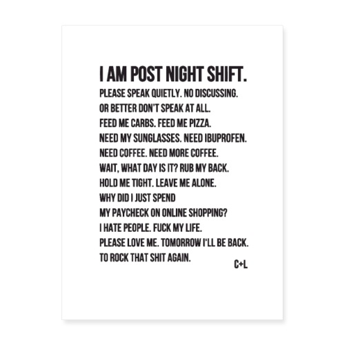 Night Shift Poem - Poster 18x24