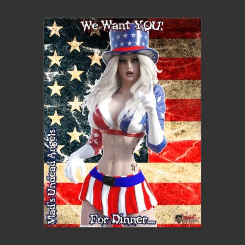 Undead Angel Hybrids: Zombie Patriotic Samantha - Poster 18x24