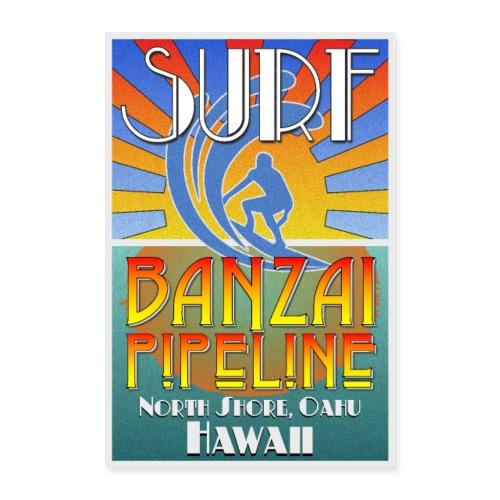 Banzai Pipeline, North Shore, Oahu, Art Deco Style - Poster 24x36