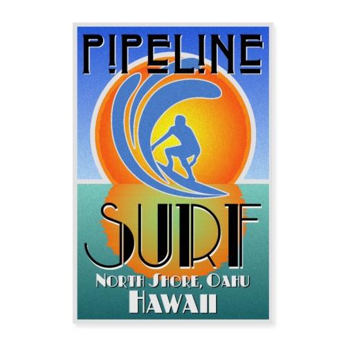 Pipeline, North Shore, Oahu, Art Deco Style - Poster 24x36