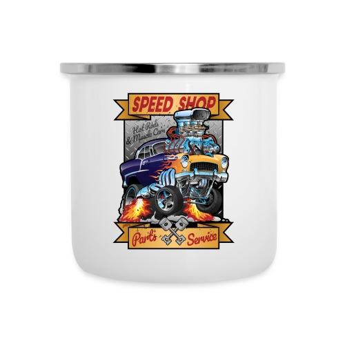 Speed Shop Hot Rod Muscle Car Cartoon Illustration - Camper Mug
