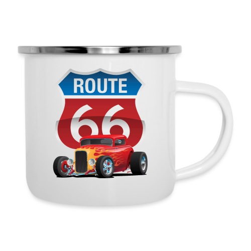 Route 66 Sign with Classic American Red Hotrod - Camper Mug