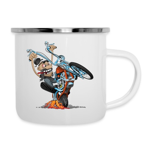 Funny biker riding a chopper cartoon - Camper Mug