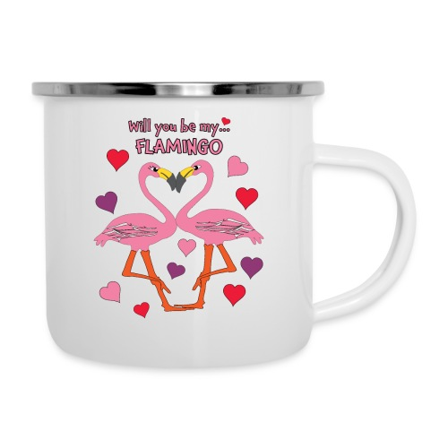 Will You be my Flamingo Valentine Kisses - Camper Mug