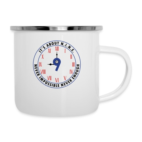 NINE Logo v2 2018 blue Outlines Red Numbers - Camper Mug