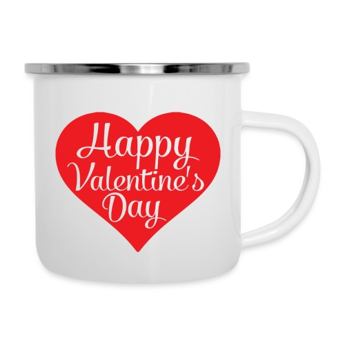 Happy Valentine s Day Heart T shirts and Cute Font - Camper Mug