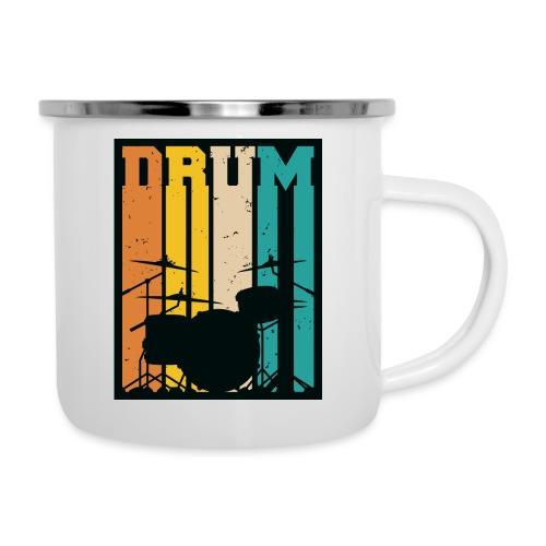 Retro Drum Set Silhouette Illustration - Camper Mug