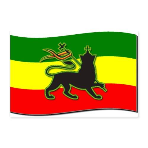 Waving Rasta Flag w/ The Lion of Judah - Rasta - Poster 36x24