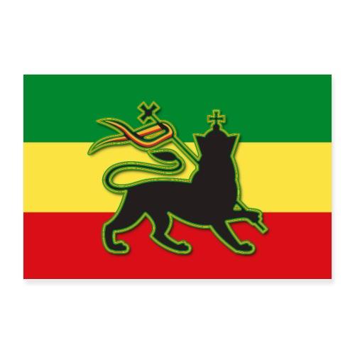 Rasta Flag w/ The Lion of Judah - Rasta - Reggae - Poster 12x8