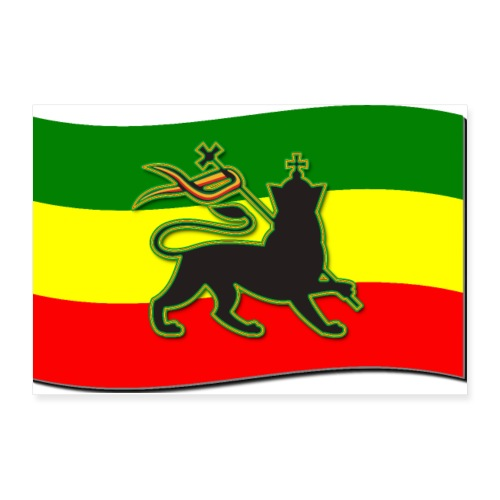 Waving Rasta Flag w/ The Lion of Judah - Rasta - Poster 12x8