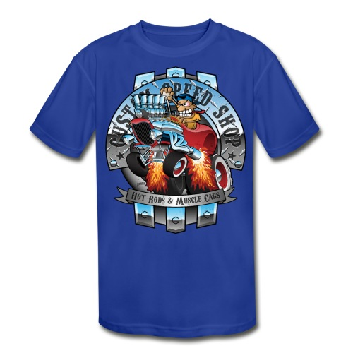 Custom Speed Shop Hot Rods and Muscle Cars Illustr - Kids' Moisture Wicking Performance T-Shirt