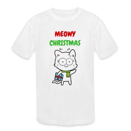 MEOWY CHRISTMAS HOLIDAY CAT - Kid's Moisture Wicking Performance T-Shirt