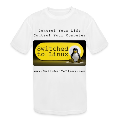 Switched to Linux Logo with Black Text - Kids' Moisture Wicking Performance T-Shirt