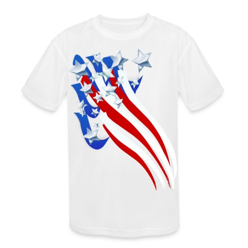 Sweeping Old Glory - Kids' Moisture Wicking Performance T-Shirt