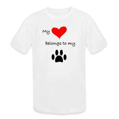 Dog Lovers shirt - My Heart Belongs to my Dog - Kids' Moisture Wicking Performance T-Shirt