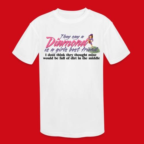 Softball Diamond is a girls Best Friend - Kids' Moisture Wicking Performance T-Shirt