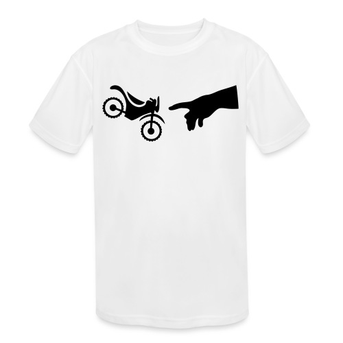 The hand of god brakes a motorcycle as an allegory - Kids' Moisture Wicking Performance T-Shirt