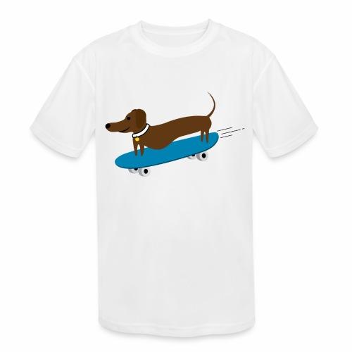 Dachshund Skateboarding - Kids' Moisture Wicking Performance T-Shirt