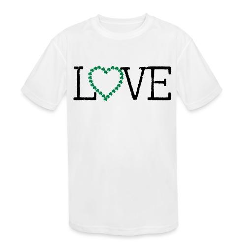 LOVE irish shamrocks - Kids' Moisture Wicking Performance T-Shirt