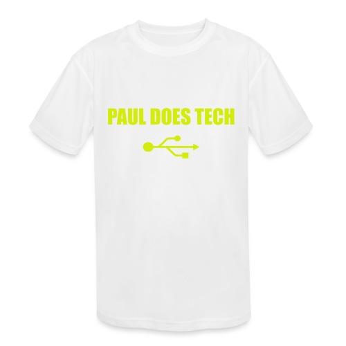 Paul Does Tech Yellow Logo With USB (MERCH) - Kids' Moisture Wicking Performance T-Shirt